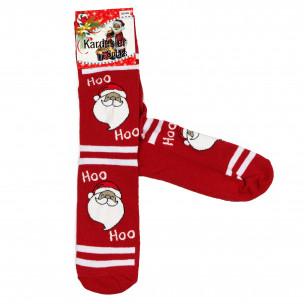 Мъжки червени коледни чорапи