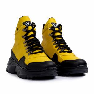 Високи маратонки в жълто трекинг дизайн  2