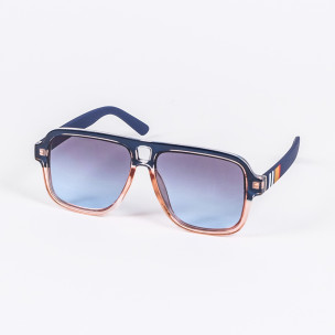 Опушени слънчеви очила масивна рамка в синьо