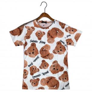 Мъжка тениска Teddy Bear в бяло