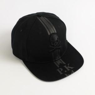 Шапка с права козирка Skull All black