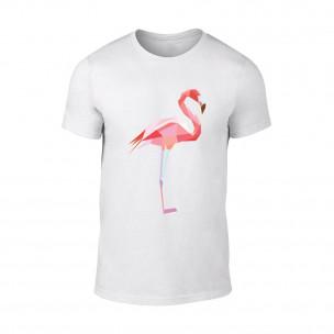 Мъжка бяла тениска Flamingo