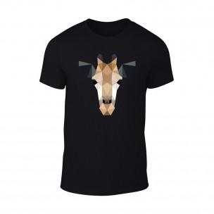Мъжка черна тениска Giraffe