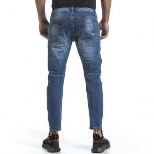 Мъжки сини дънки с износен ефект 2