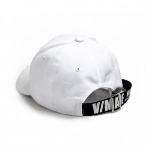 Бяла шапка с козирка и акцент 2