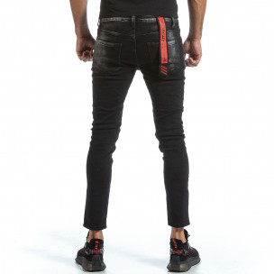 Slim fit мъжки черни дънки с износен ефект 2
