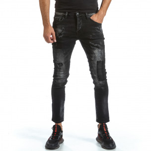 Slim fit мъжки черни дънки с износен ефект