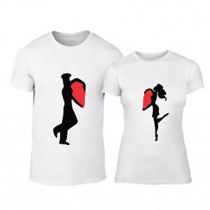 Тениски за двойки Half Heart бели