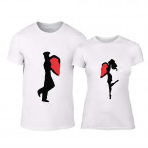 Тениски за двойки Half Heart бели TEEMAN