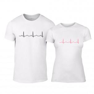 Тениски за двойки Heartbeats бели TEEMAN