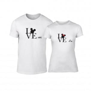 Тениски за двойки Love Him Love Her бели TEEMAN