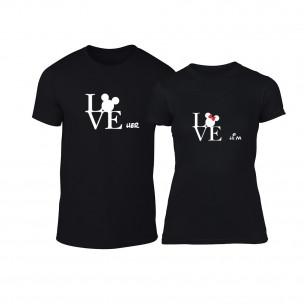 Тениски за двойки Love Him Love Her черни