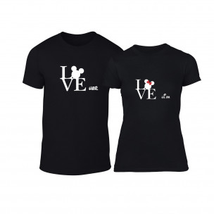 Тениски за двойки Love Him Love Her черни TEEMAN