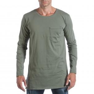 Мъжка зелена блуза с ципове отстрани