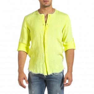 Мъжка ленена риза Vintage жълт неон