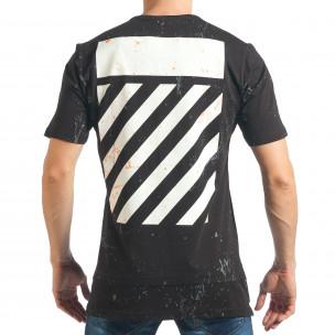 Мъжка черна дълга тениска с голям принт на гърба  2