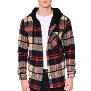 Мъжки кариран суичър-риза с качулка