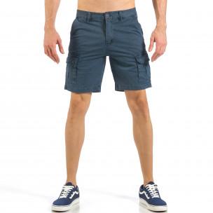 Мъжки къси карго панталони в синьо с дребен принт