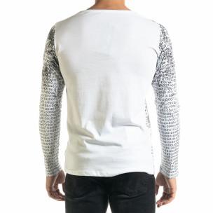 Мъжка бяла блуза с принт  2