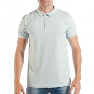 Мъжка тениска с яка basic модел в светло зелено