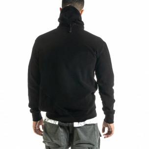 Мъжки черен суичър от полар с качулка  2