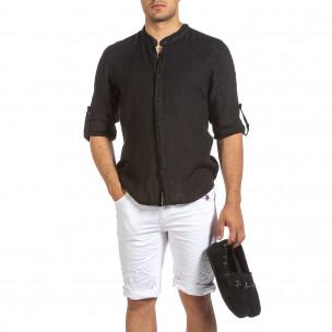 Мъжка черна ленена риза с яка столче