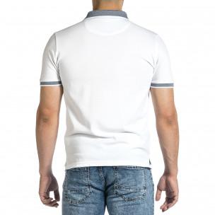 Мъжка бяла тениска с яка меланж  2
