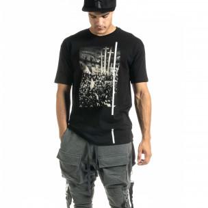 Мъжка черна тениска с кръстове