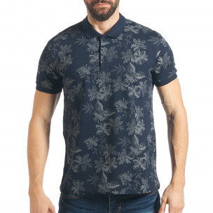 Мъжка синя тениска с флорална щампа Madmext