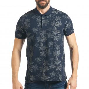 Мъжка синя тениска с флорална щампа