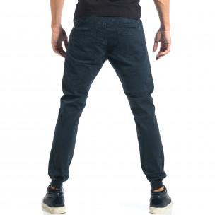Мъжки сиво-син панталон с еластични маншети на крачолите  2