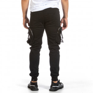 Черен карго панталон с трикотажен колан и маншети Yes Design 2