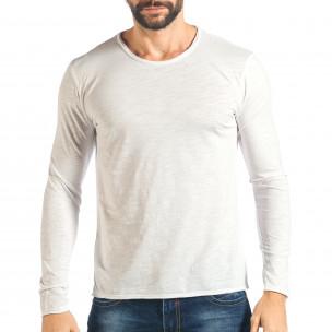 Мъжка бяла блуза изчистен модел
