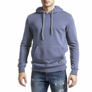 Basic мъжки сиво-син суичър тип анорак  2