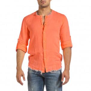 Мъжка ленена риза Vintage оранжев неон