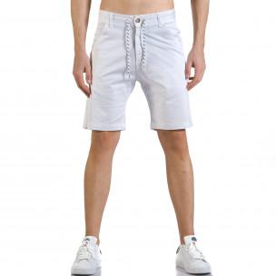 Мъжки бели къси панталони с връзки