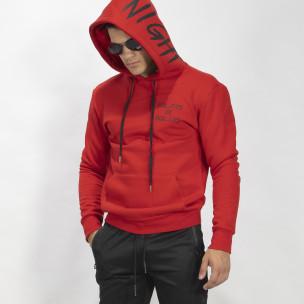 Червен ватиран мъжки суичър тип анорак