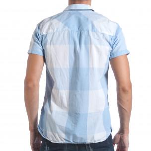 Мъжка риза с къс ръкав светло синьо каре  2
