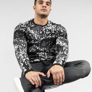 Мъжки черно-бял пуловер пикселирана шарка