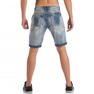 Мъжки къси дънки с допълнителни шевове  2