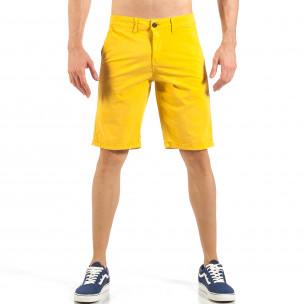 Мъжки жълти къси панталони с италиански джобове