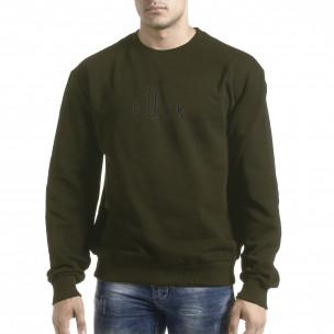 Милитъри зелена блуза с принт на гърба  2