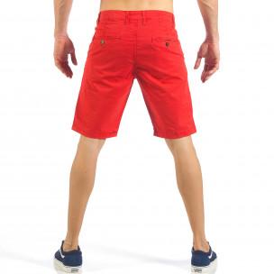 Мъжки червени къси панталони с италиански джобове  2