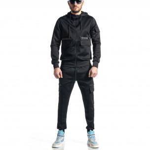 Мъжки черен спортен комплект 7джоба