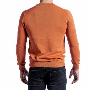 Фин памучен мъжки оранжев пуловер  2