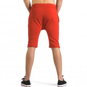 Мъжки червени шорти с жълти детайли  2