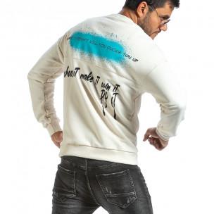 Мъжка ватирана бяла блуза с принт на гърба Breezy