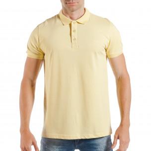 Мъжка тениска с яка basic модел в жълто