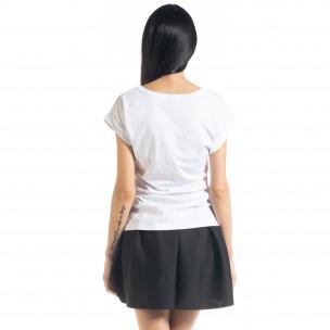 Дамска тениска с пайети в бяло  2