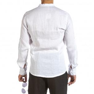 Мъжка бяла ленена риза с яка столче Duca Fashion 2